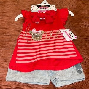 Disney Baby Girl Minnie Mouse Matching Set!